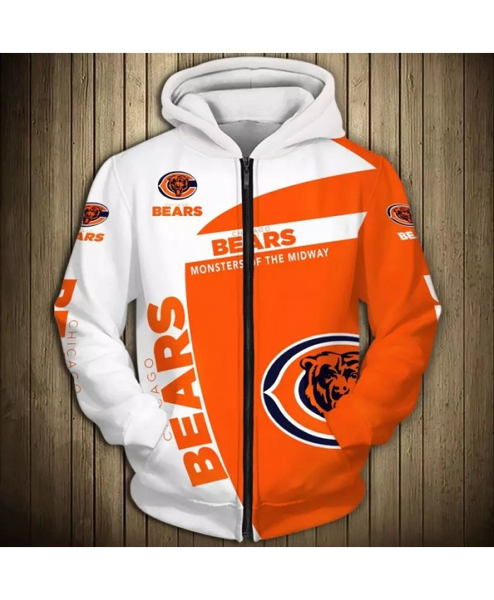 Chicago Fashionable American Football Bears Zipper hoodies White orange stitching roaring bear print 3D sportswear 1