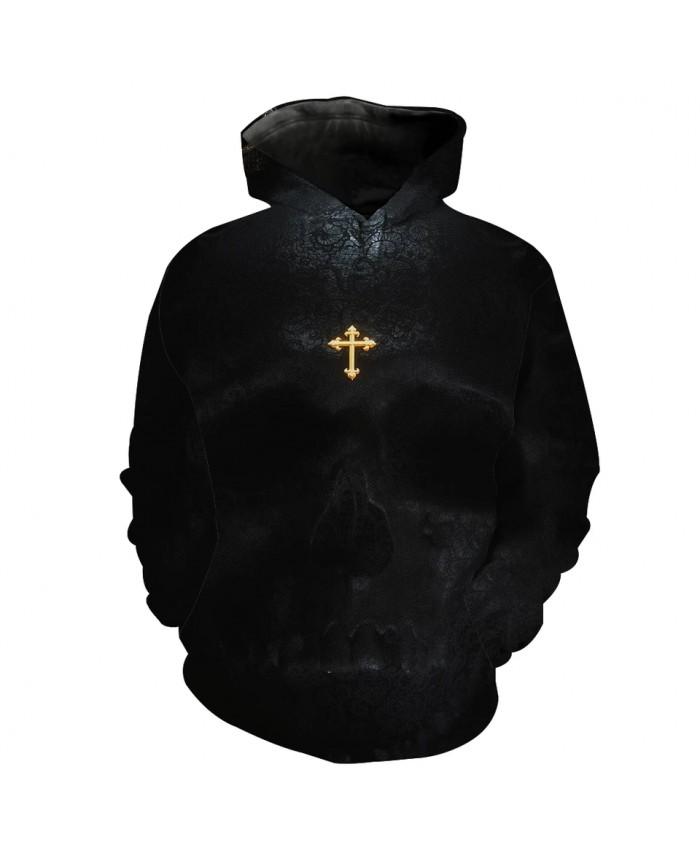 Men's Fashion 3D Hoodie Golden cross print black sweatshirts