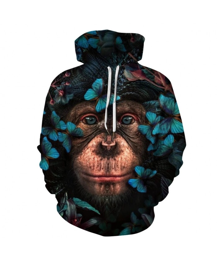 Orangutan Butterfly 3D Print Hoodies Men Women Sweatshirt Hooded Brand Clothing Hoody Tops Plus Size S-3XL
