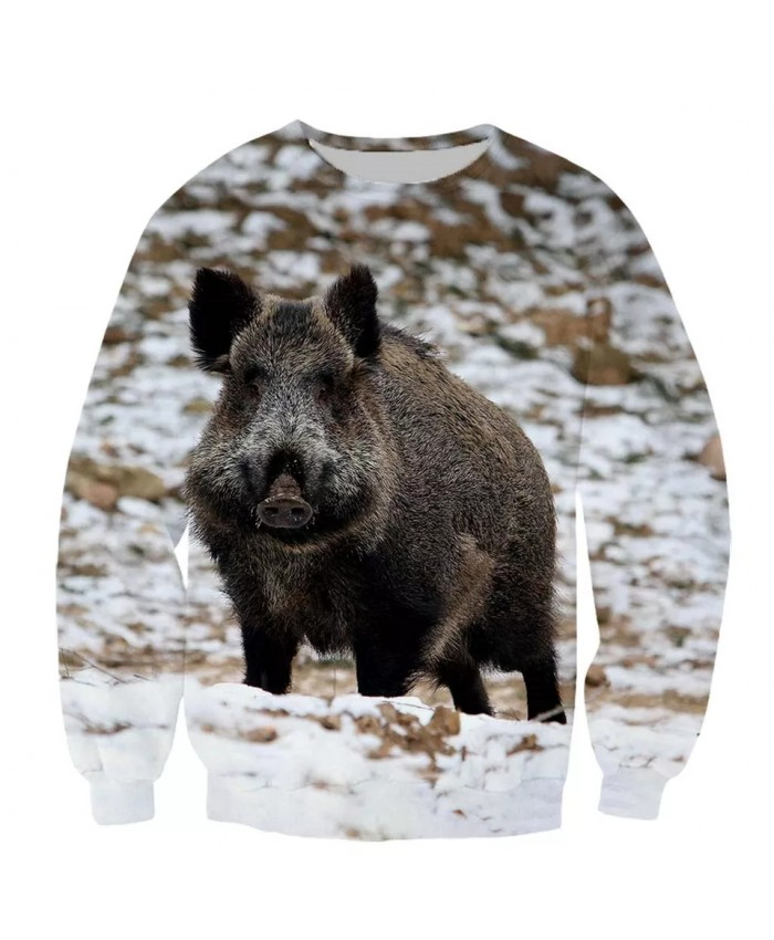 Wild boar Fashion Playerun Funny New Fashion Long Sleeves 3D Print Hoodies Sweatshirt Jacket Men women E