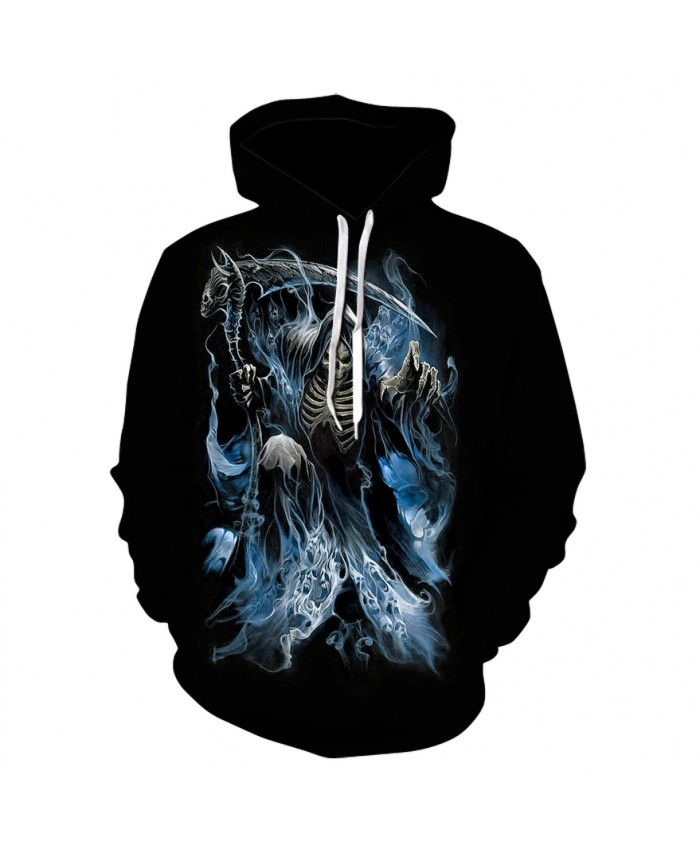Men's long sleeve thin print hoodie spring fall 2021 high quality blue flame skull Halloween personality hoodie