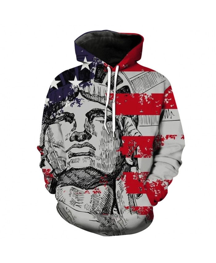 Graffiti retro goddess American flag print men's casual 3D hooded sweatshirt