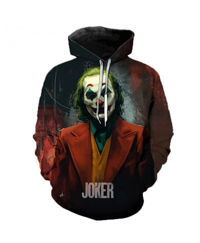 Horror Movie Joker 3D Hoodies Men Women Casual Sweatshirts IT Clown Print Pattern Tops Fashion Streetwear Oversized Hoodies