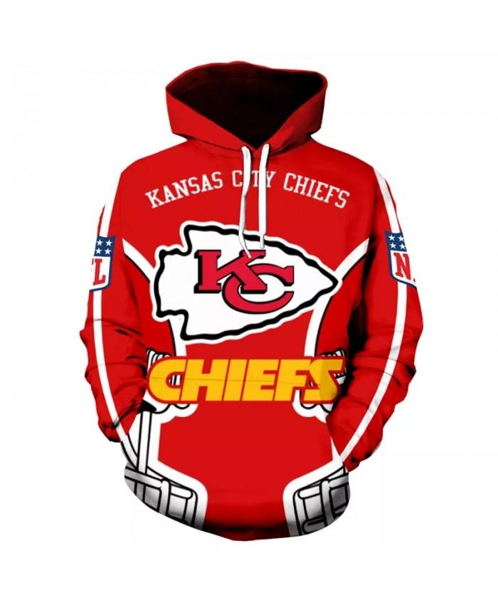 Kansas City fashion cool Football 3d hoodies sportswear Geometric red helmet letter print Chiefs sweatshirt 1