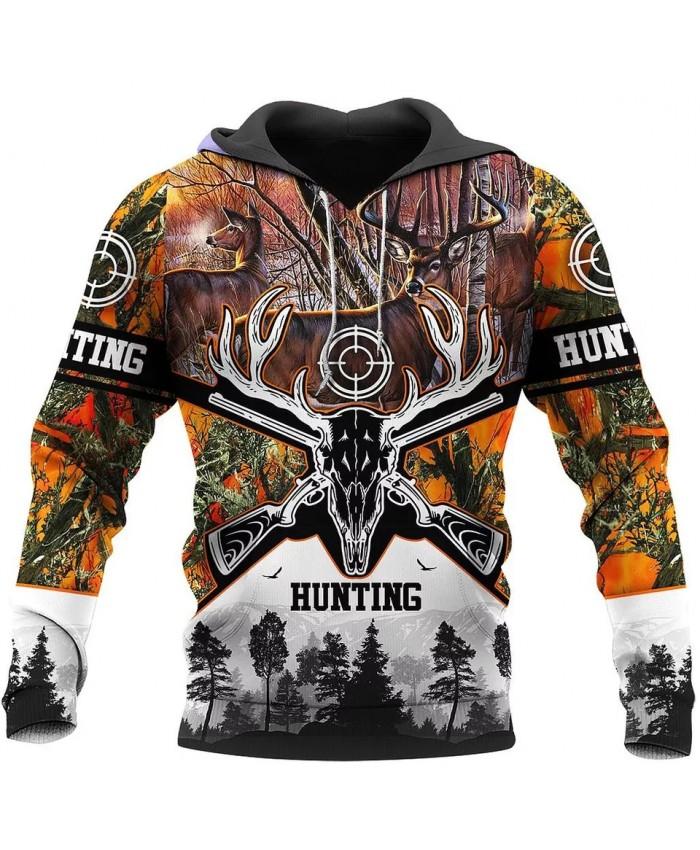 New unisex street casual hoodie 3D printing deer hunting casual sweatshirt hoodie zipper hoodie fashion sweatshirt