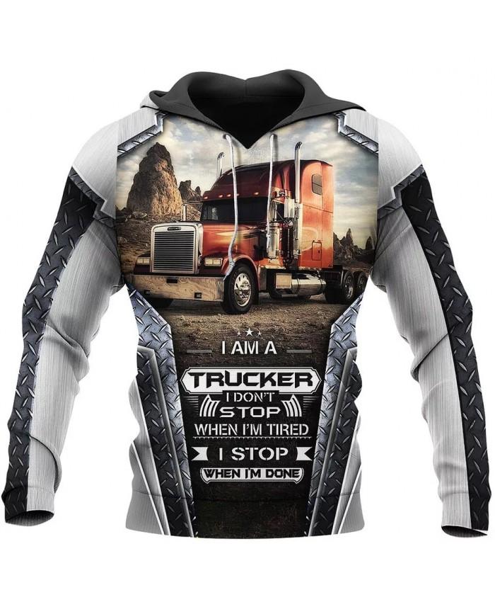 New style hoodie I am a trucker 3D printed sweatshirt hoodie zipper hoodie fun fashion street unisex casual sports hoodie NO002