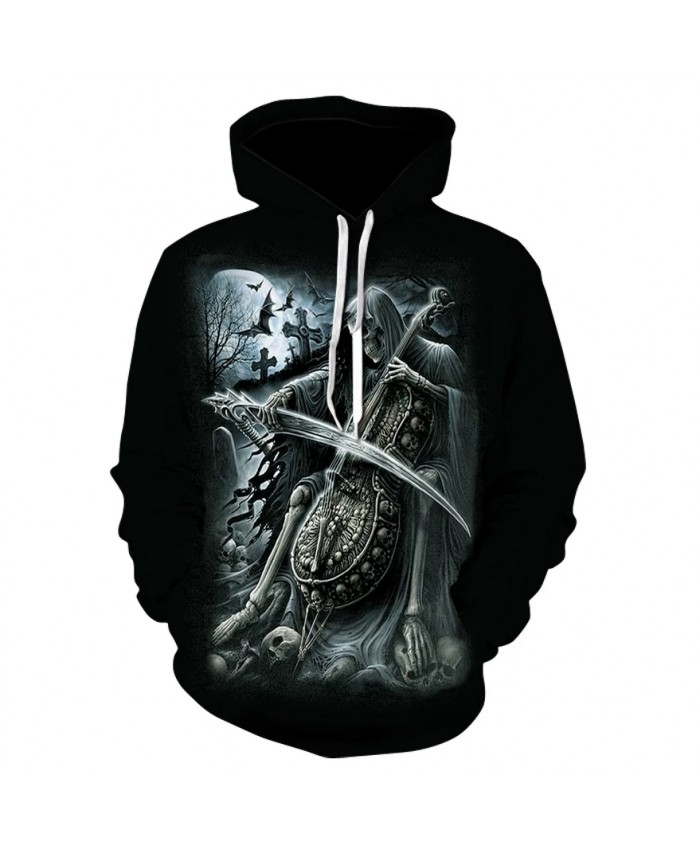 Harajuku men's personalized long-sleeved hoodie spring and autumn thin skull print hoodie