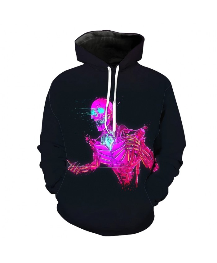 Blue fluorescent eyes red zombie print fashion 3D hooded sweatshirt