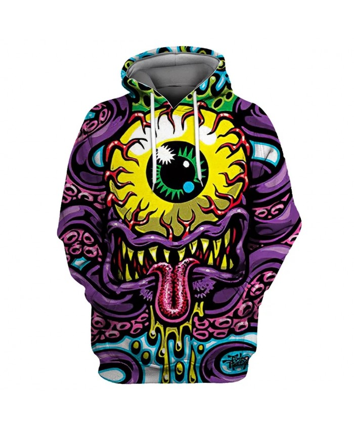 Yellow eyeball and purple mouth horror monster print fun 3D hooded sweatshirt