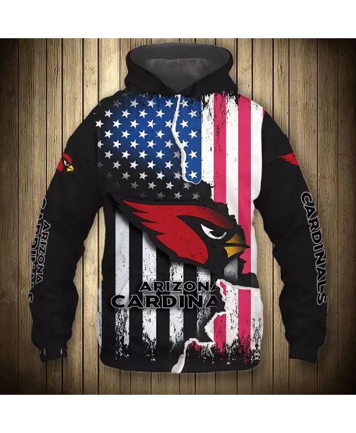 Arizona fashion cool Football 3d hoodies sportswear American flag red cartoon bird print Cardinals sweatshirt