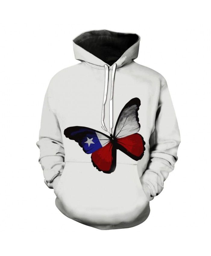 Butterfly hot air balloon print white casual hooded sweatshirt