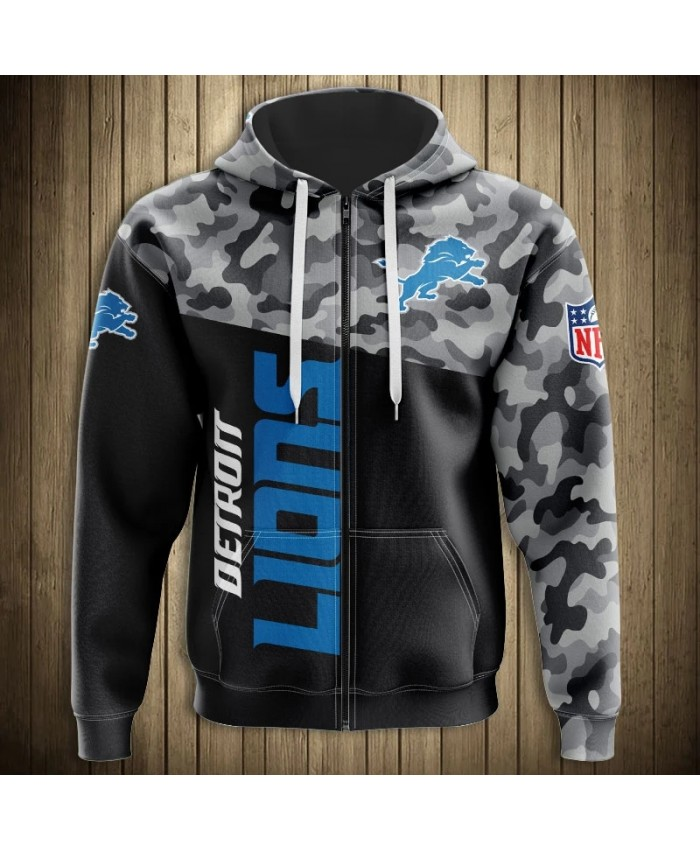 Detroit Fashionable American Football Lions Zipper hoodies Camouflage stitching casual sportswear