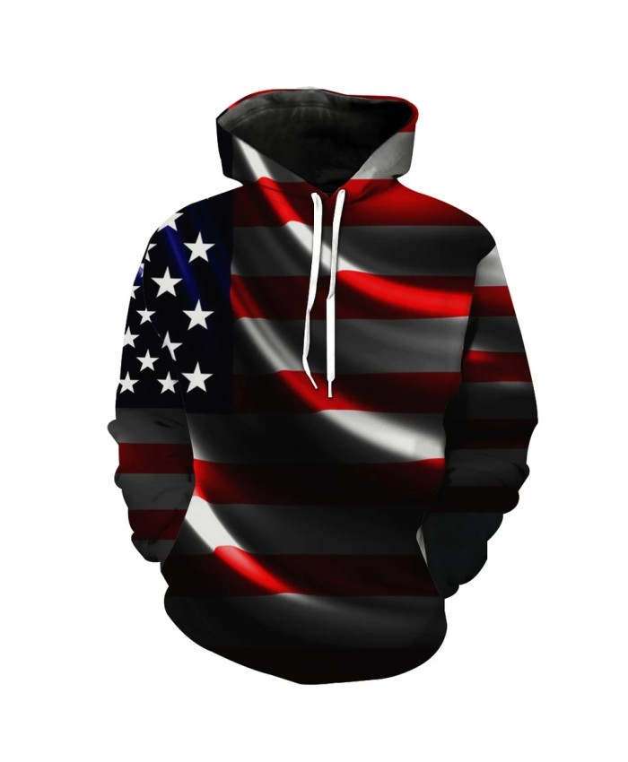 Patchwork Lights American Flag Print Casual 3D Hoodie