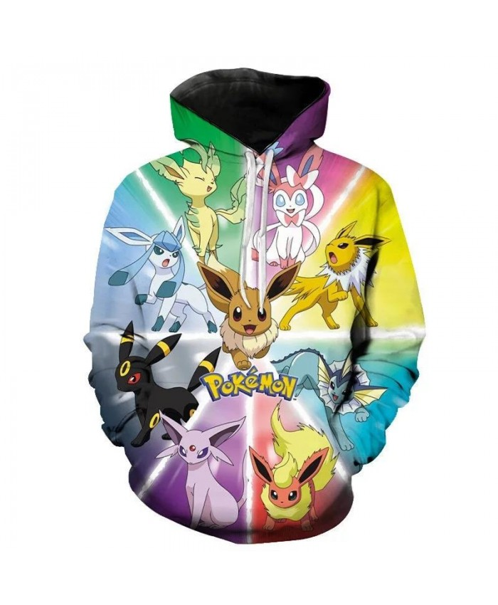 Anime Pokemon Adult Oversized Children's Pullover Long Sleeve 3D Printing Sweatshirt Hoodie Boys Girls Kids Fashion Casual Tops