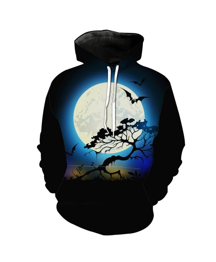 Moonlit bat print fun 3D Halloween hoodie
