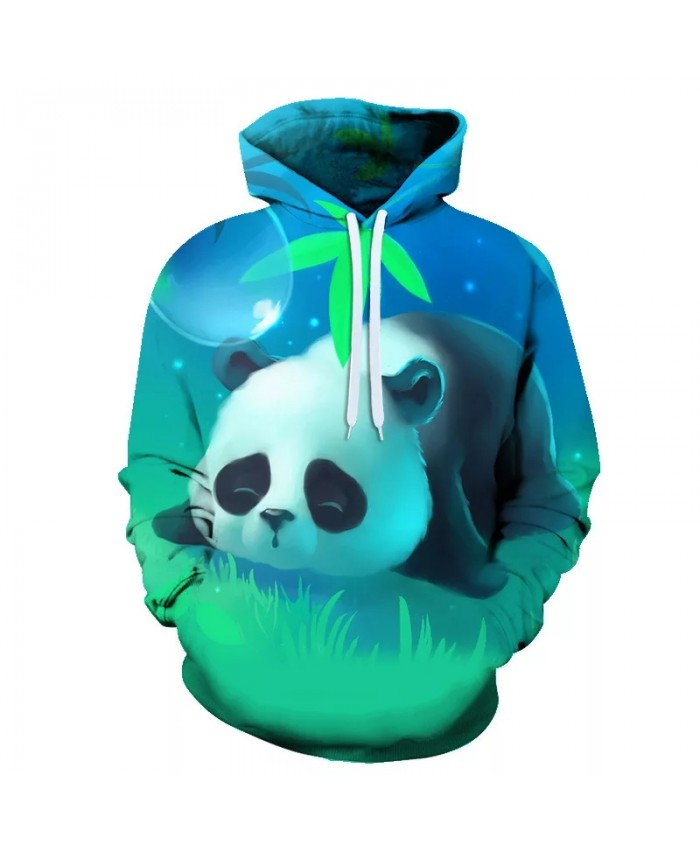 Spring And Autumn 3d Panda Print Animal With Men's And Women's Children's Hoodie Casual Long-sleeved Loose Sweatshirt Coat