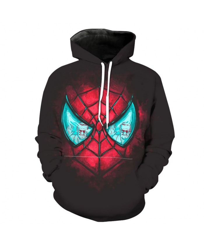 Men's Fashion 3D Hoodie Green eyes black spider print sweatshirts