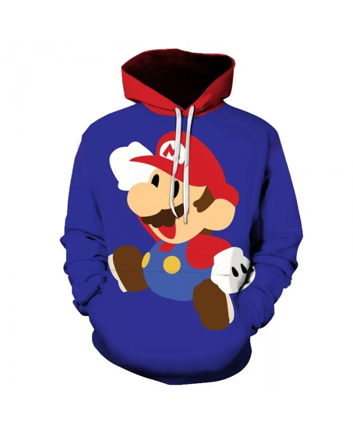 Super Mario Bros 3D Hoodies Men Women Children Cartoon Anime Super Mario Printed Boy Girl Clothes Sweatshirt Casual Streetwear