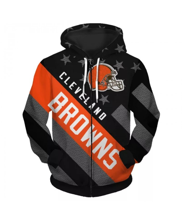 Cleveland Fashionable American Football Browns Zipper hoodies Black American Flag Red Helmet Print 3D Sportswear