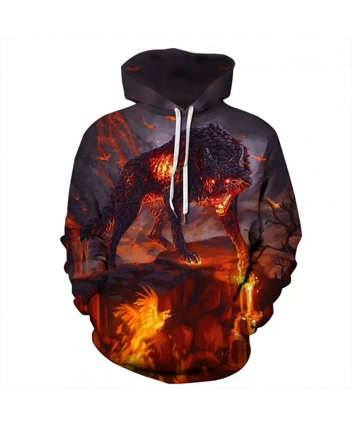 3D Hoodies Sweatshirts Printed Fire Wolf Autumn Winter Men Women's Hooded Pullover Hip Hop Streetwear Clothing