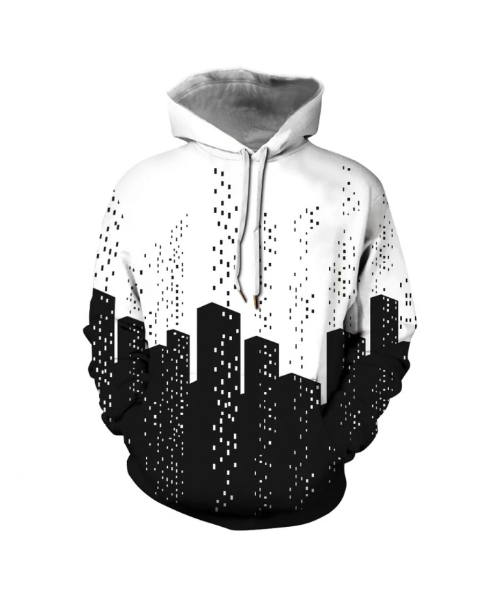 New Harajuku Graffiti Print Black White Skyscrapers Hooded  Hoodie Fashion Sweatshirt Hoodies Men Clothing Coat Tops