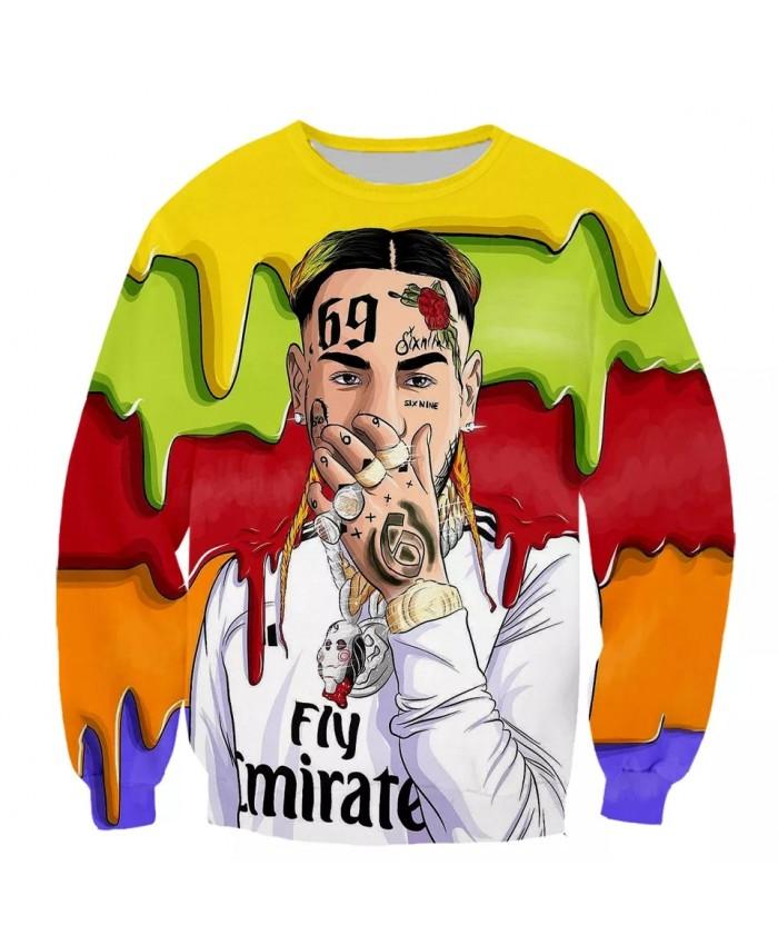 New Rapper Tekashi69 6ix9ine Tekashi 69 Fashion Long Sleeves 3D Print Hoodies Sweatshirts Jacket Men women