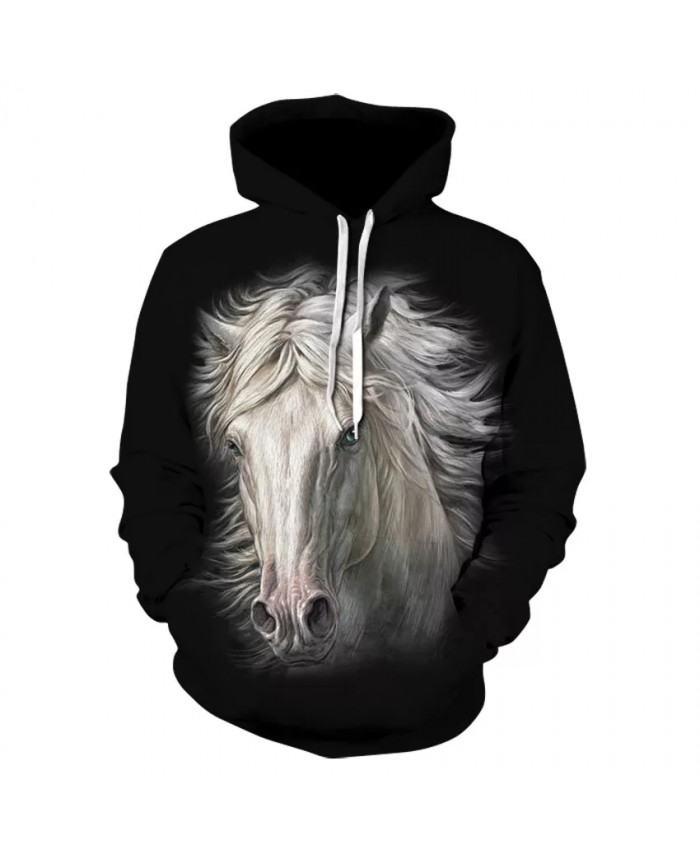The new men's fall casual long sleeve hooded sweatshirt for men and women is a stylish animal and horse print hoodie