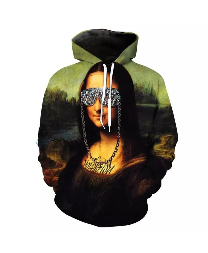Fun oil painting ladies graffiti print fashion 3D hooded sweatshirts