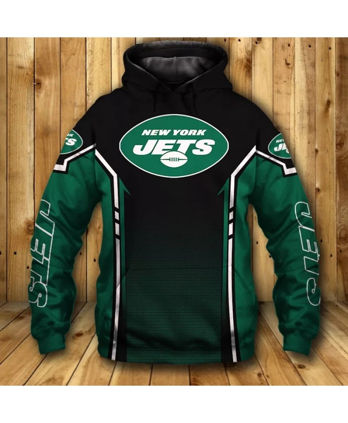 New York fashion cool Football 3d hoodies sportswear Green black spots stitching letter print Jets sweatshirt
