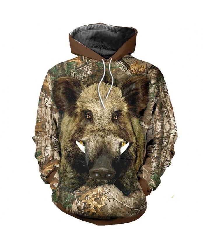 Fashion wild boar hunting 3D full print sweatshirt funny street casual sweatshirt hoodie zipper hoodie unisex casual sweatshirt