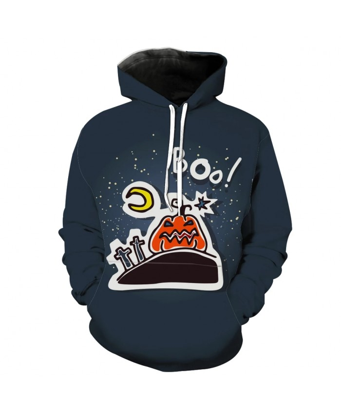 artoon Tombstone Moon Star Pumpkin Lantern Print Fun 3D Hoodies