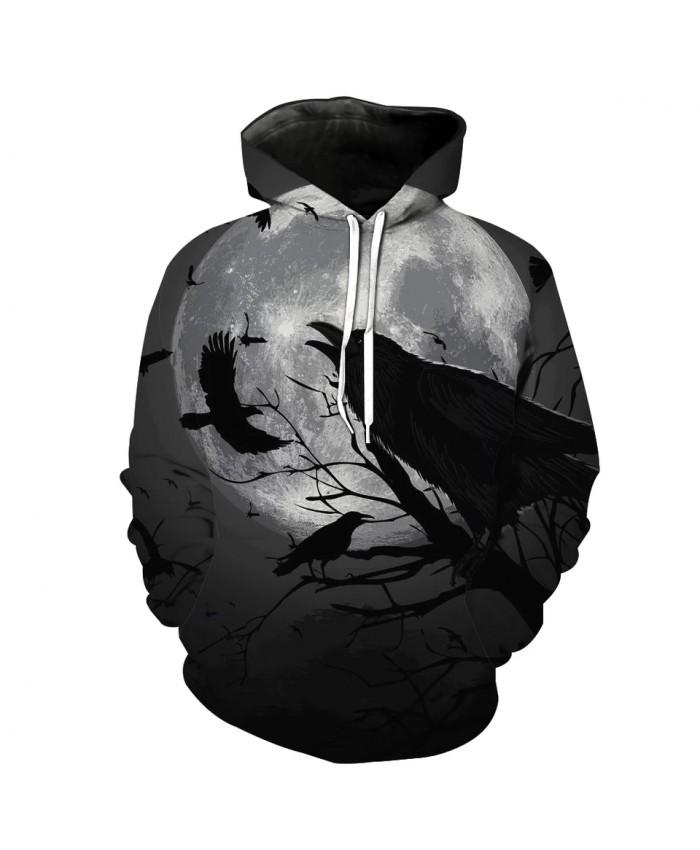 Men's Fashion 3D Hoodie Skull Flying crow gray moon print sweatshirt