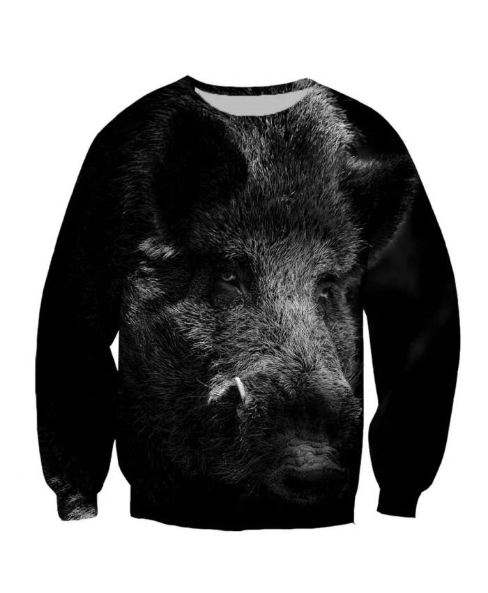 Wild boar Fashion Playerun Funny New Fashion Long Sleeves 3D Print Hoodies Sweatshirt Jacket Men women G
