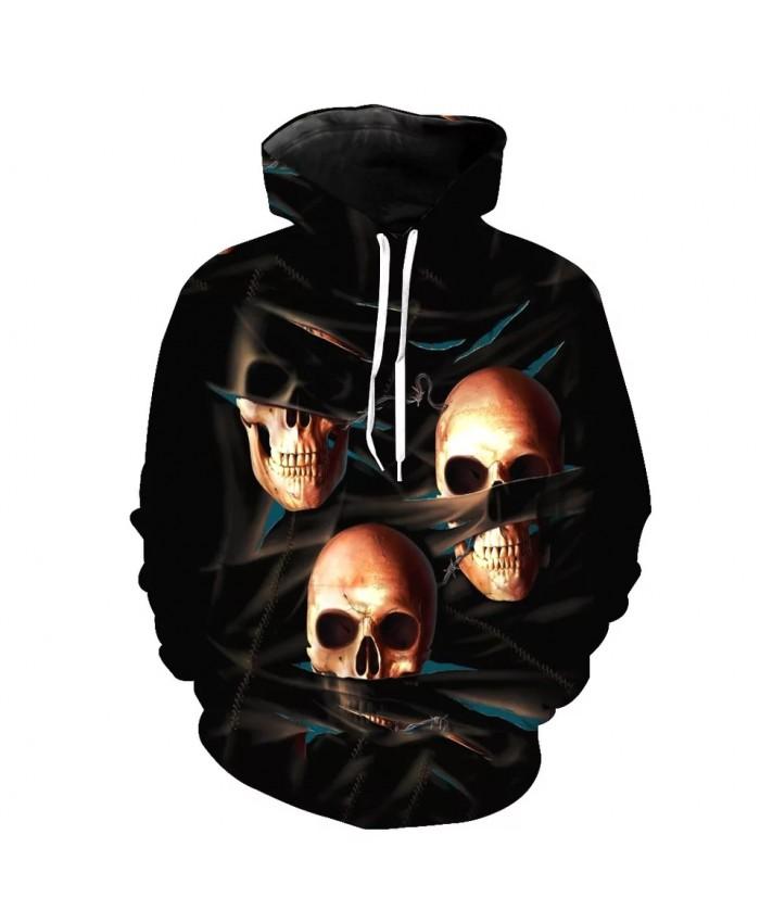 Black smoke metal skull print black casual 3D hooded sweatshirts