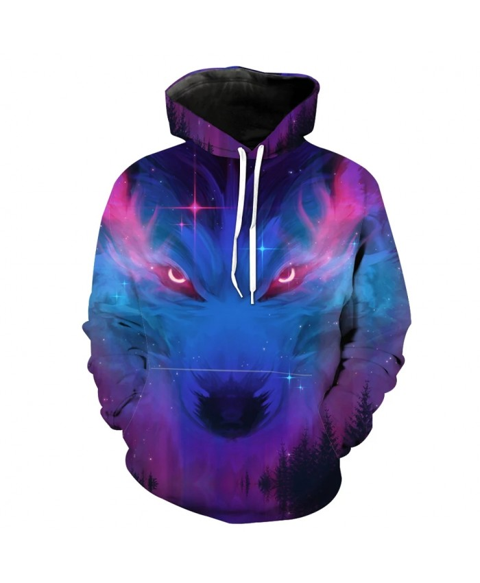 Graffiti Galaxy Wolf Print Fashionable 3D Hooded Sportswear