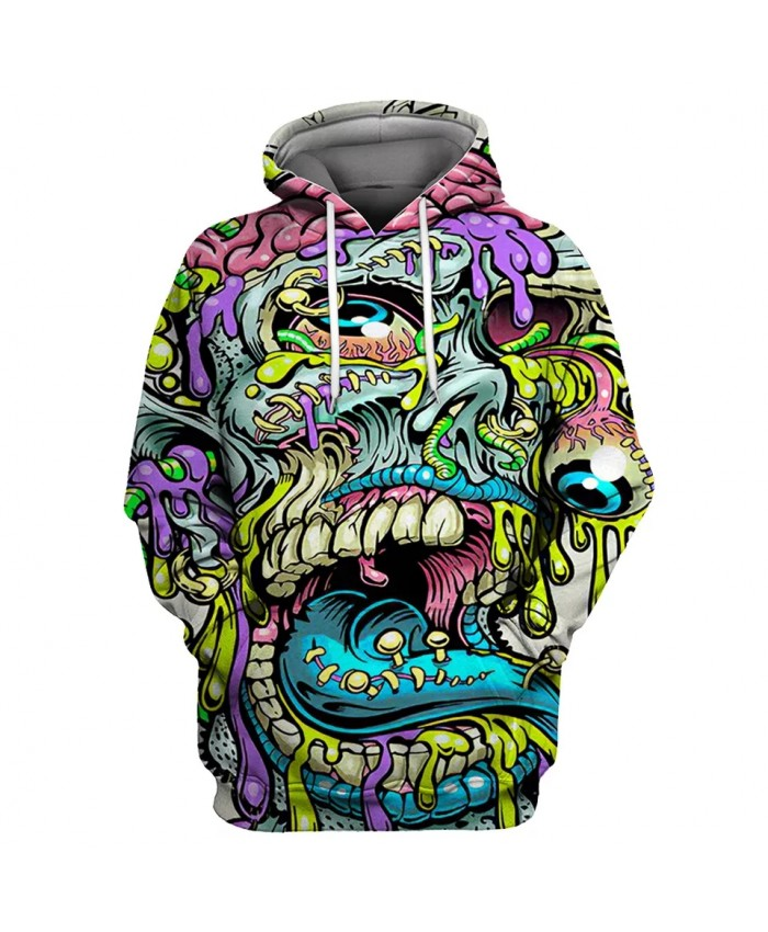 Green liquid insect print graffiti 3D men's hooded sweatshirts