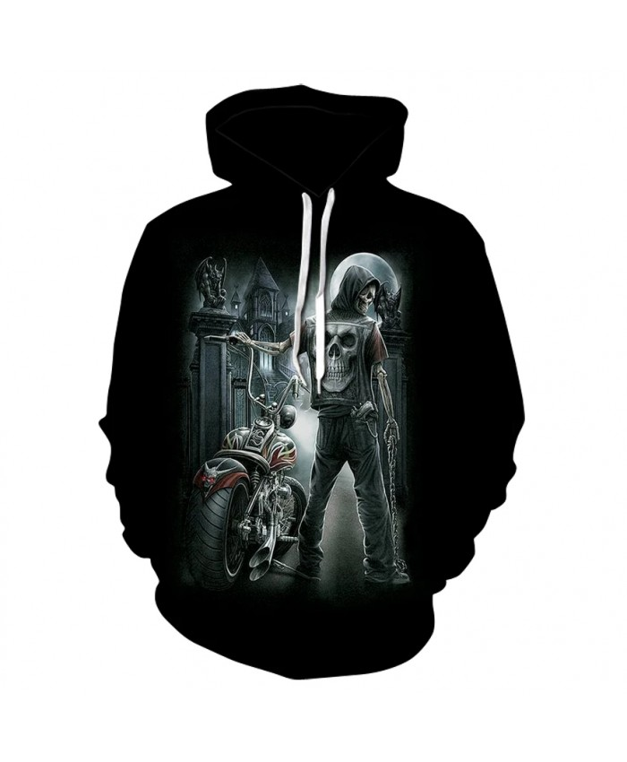 Men's long-sleeved thin print hoodie spring autumn 2021 high quality motorcycle skull skateboard sport coat
