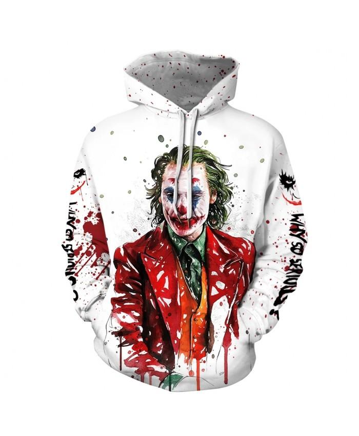 New 3D Joker Print Fashion Brand Men's Hoodies Sweatshirt Men Funny Plus Size black Hoodie For Male Unisex Winter Pullovers