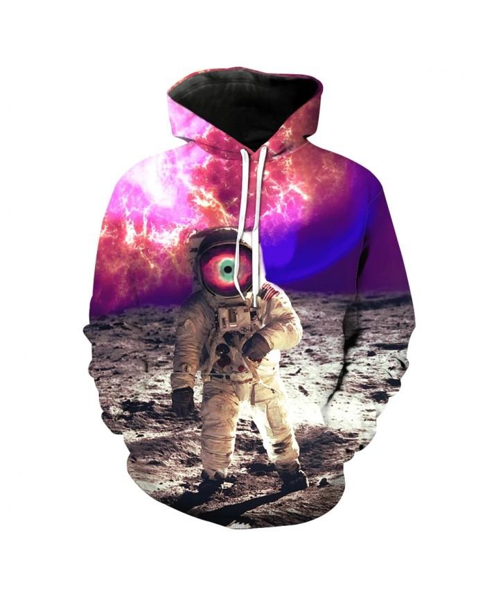 Purple Galaxy Astronaut Print Casual 3D Hooded Sweatshirt