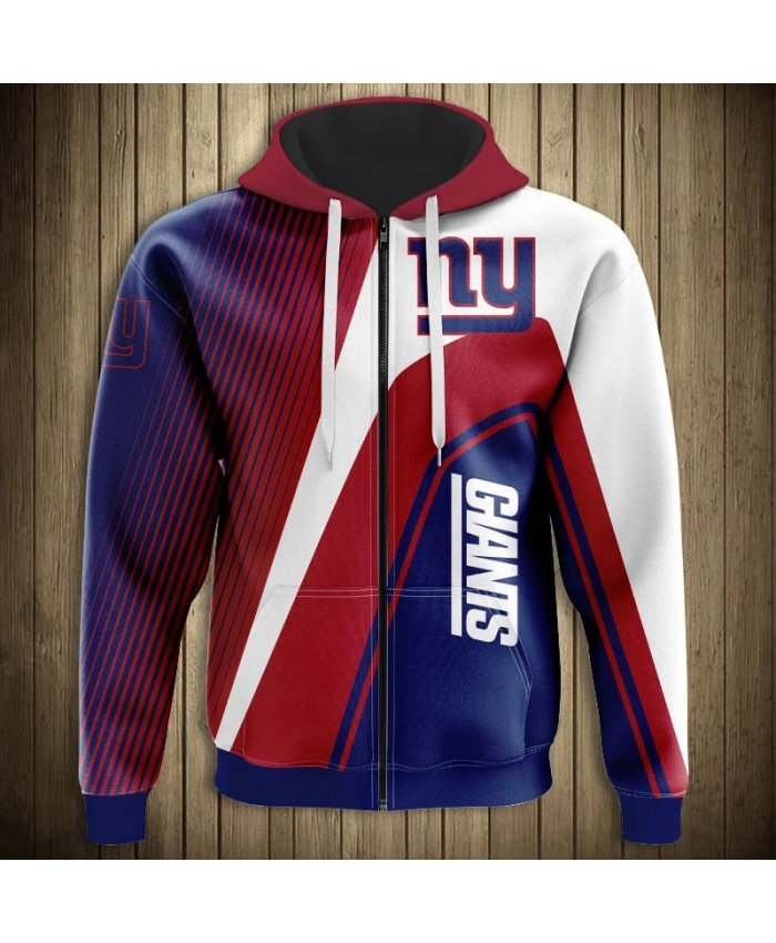 New York Fashionable American Football Giants Zipper hoodies Stripe stitching design letter printing fashion men's sportswear 1