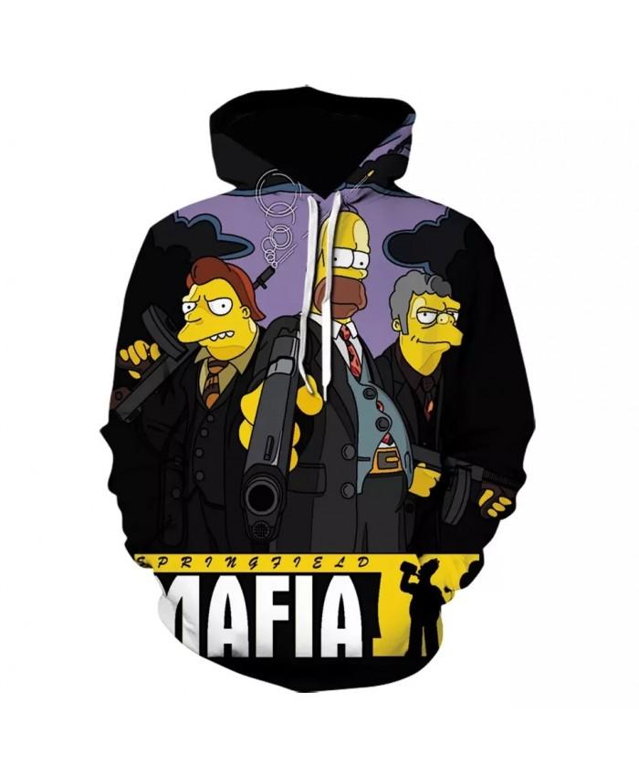 Men Women Hoodie Letter 3DPrint Fashion Gangster Simpson Sweatshirt Long Sleeve  Hoodies Cartoon Simpsons Mens High Quality Coat