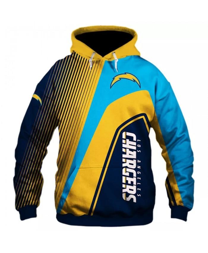 Los Angeles fashion cool Football 3d hoodies sportswear Black yellow blue stripes stitching lightning print Chargers sweatshirt