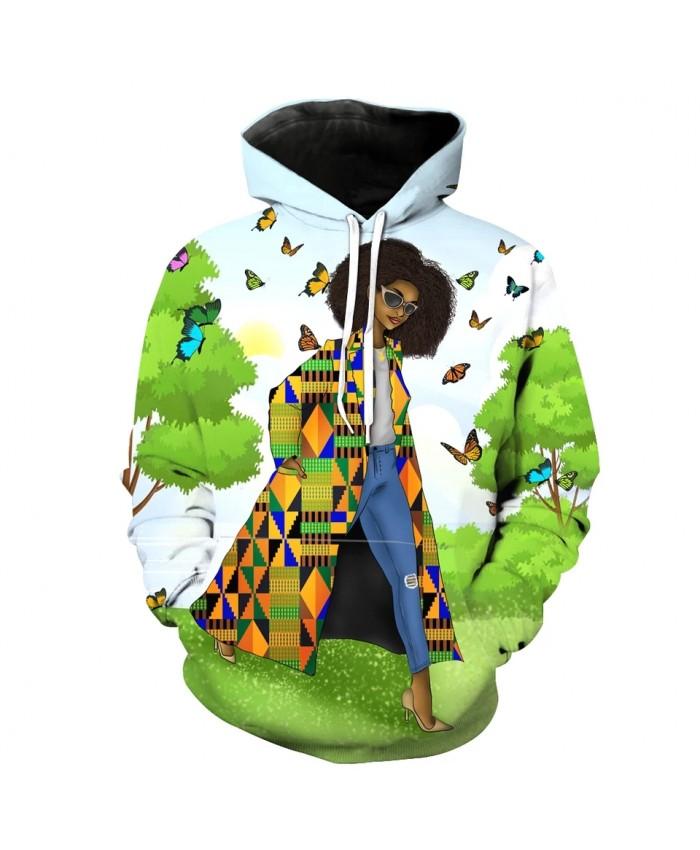 Men's Fashion 3D Hoodie Green trees flowers butterfly elegant ladies print sweatshirt