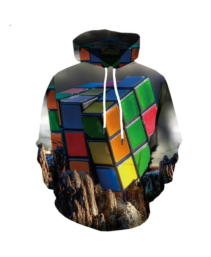 Spring And Autumn New High-quality 3d Printing Rubik's Cube Men's And Women's Hoodie Fashion Casual Sportswear Coat