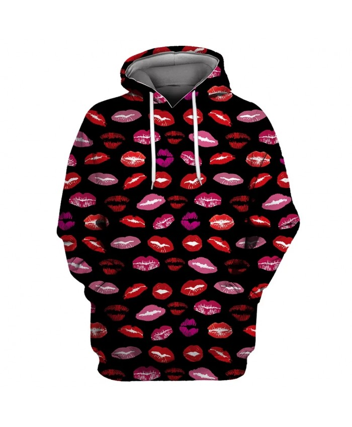 Graffiti Red Lips Print Fashion Black 3D Men's Casual Hooded Pullover