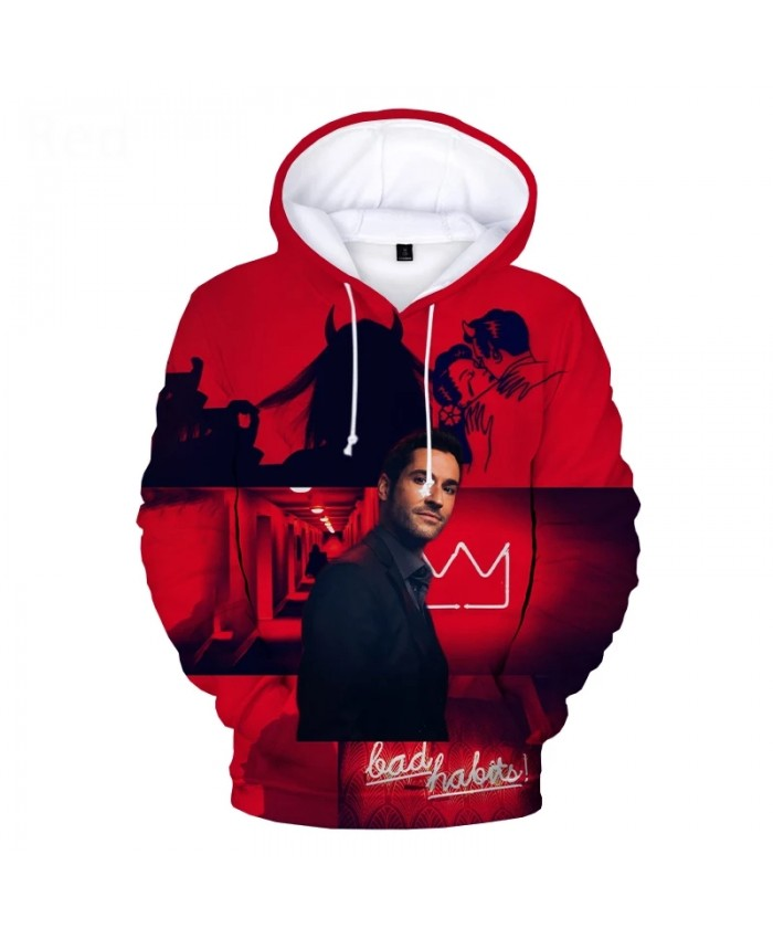 Lucifer Hoodies Men Women Streetwear Fashion Print 3D Hooded Sweatshirts Lucifer 3D Hoodies Top Men Oversized Pullovers 2XS-5XL