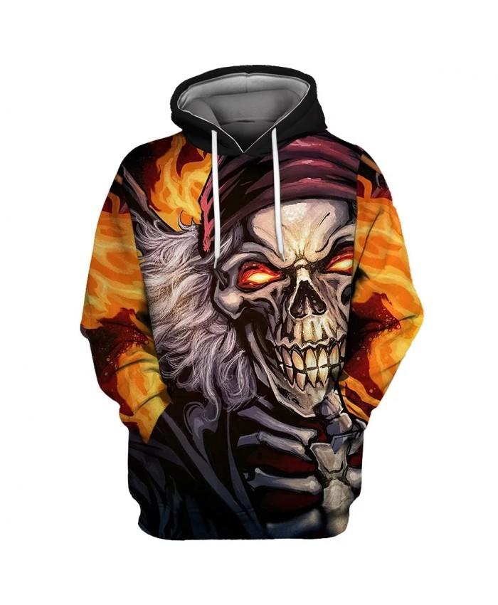 Red turban gray hair smiling skull print 3D flame hooded sweatshirts