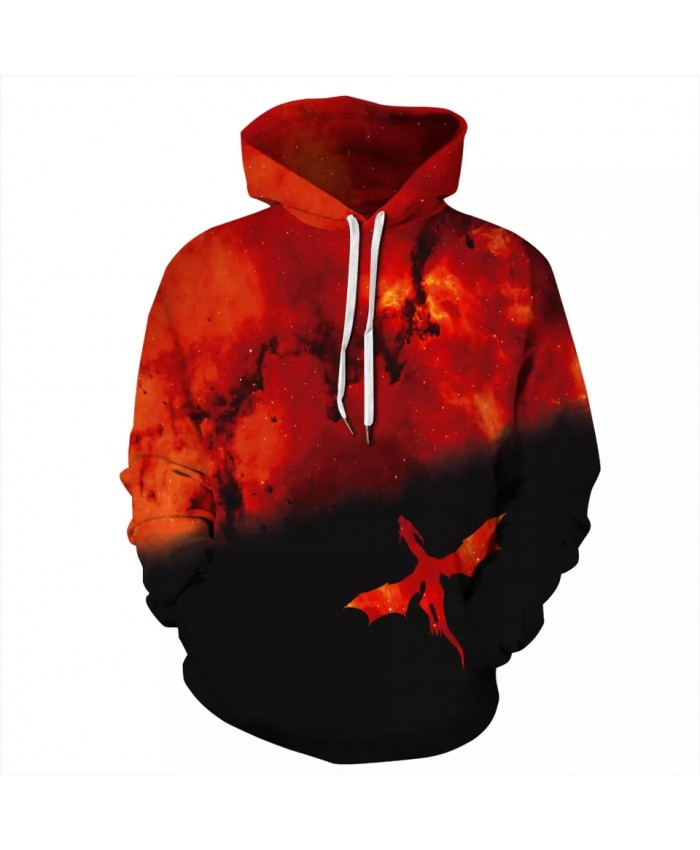 Dragon Red Space Galaxy 3D Print Hoodies Sweatshirts Men Women Fashion Pullover Hooded Autumn And Winter Sweatshirt