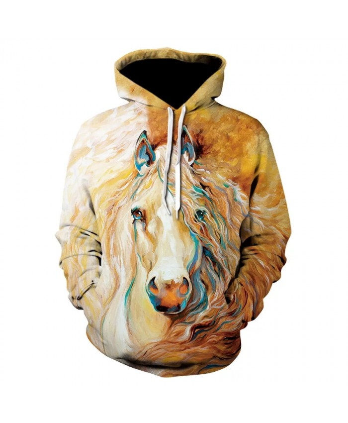 High quality casual long sleeve horse print street wear thin hooded sweatshirt 3D animal print floral hoodie