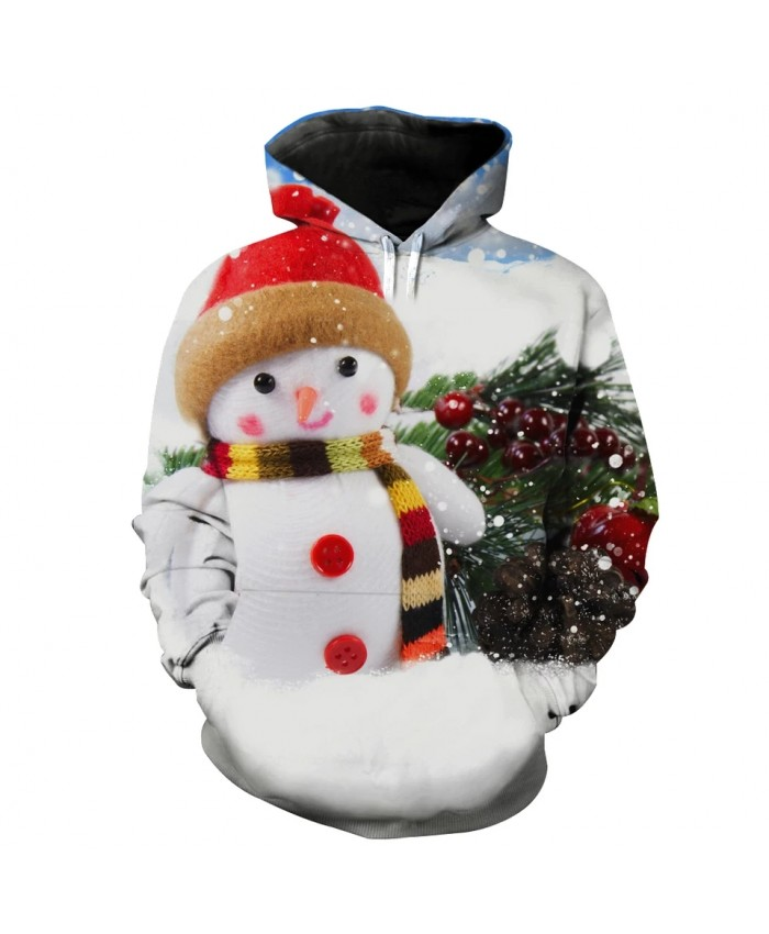 Cute Snowman Doll Christmas Tree Bell Print Fun 3D Hoodies
